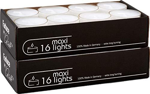 Qult Farluce(TM) Maxilights weiß - Teelichter in Kunststoffhülle und Premiumqualität - Rußfrei - ca. 10 Stunden Brenndauer - Gastro Großpackung - Sparpack - unbeduftet, Teelichter:32 Maxilights