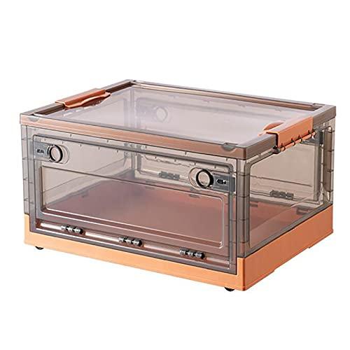 Cajas de Almacenamiento Plegables con Tapa,Multifuncional Cajas,Plástico Cajas de Utilidad Plegable Apilable Cubos de Almacenaje Comestibles Contenedore Organizador con Ruedas-Naranja 28l(15.3x11.6x9.
