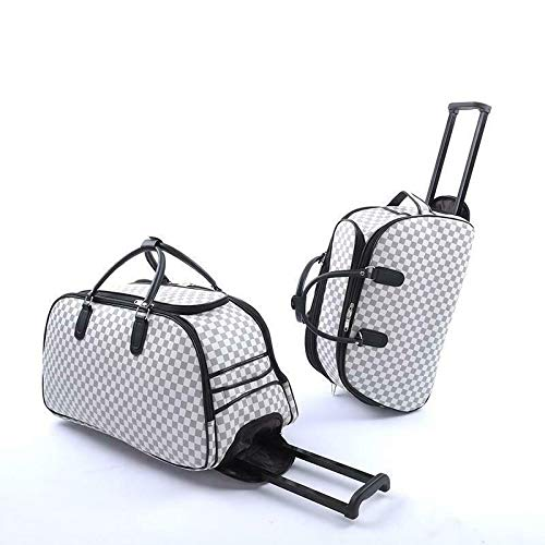 GXK Ladies Travel Bags Holdall Hand Luggage Women's Weekend Handbag Wheeled Trolley (Color : SMALL CHECKED - WHITE)