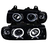 Spec-D Tuning Glossy Black Dual Halo Projector Headlights Head Lamps for 1992-1998 BMW E36 3-Series 2/4Dr Head Light Assembly Left + Right Pair