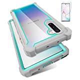 KSELF Case for Samsung Galaxy Note 10 Case with Screen Protector, Full Body Protective Hybrid Dual Layer Shockproof Acrylic Back Case Cover for Galaxy Note 10 5G 6.3 inch (Gray Light Blue)
