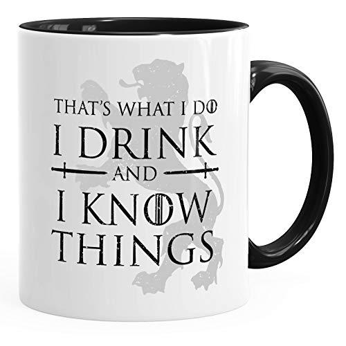 MoonWorks® Kaffee-Tasse mit Spruch That's what i do i drink and i know things Geschenkidee für Serienfans Bürotasse Inner-Schwarz unisize