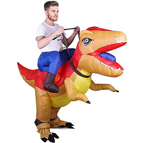 SOSPIRO Disfraz hinchable T-rex de dinosaurio Tyrannosaurus Rex divertido vestido mono con cable USB para Halloween, fiestas, cumpleaos, carnaval, adultos, mujeres, hombres, marrn
