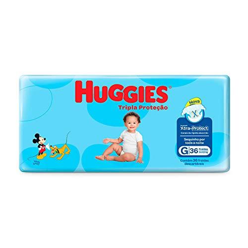 Kit: 2unid. Fralda Infantil Descartável Monica Huggies Tripla Proteção Mega G 36 Unidades