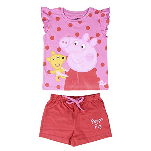 Cerdá Pijama Niña de Peppa Pig-Camiseta + Pantalon de Algodón Juego, Rosa, 3 años para Niñas