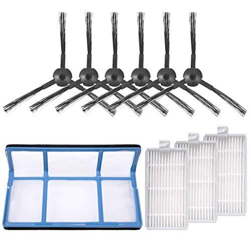 KEEPOW Kit de accesorios de repuesto compatible con ILIFE ZACO V3 V3s V5 V5s V5s Pro Robot aspirador 1 filtro primario + 3 filtros Pro aspiradora + 6 cepillos laterales
