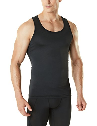TSLA Men's Athletic Compression Sleeveless Tank Top, Cool Dry Sports Running Basketball Workout Base Layer, Active(mun04) - Black, X-Large