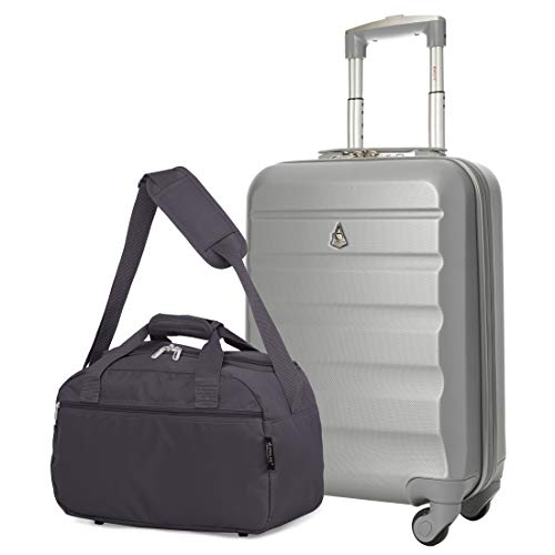 Aerolite 55x35x20cm Lightweight ABS Hard Shell Travel Carry On Cabin Hand Luggage Suitcase + 40x20x25 Ryanair Maximum Sized Holdall Cabin Bag (Silver + Charcoal)