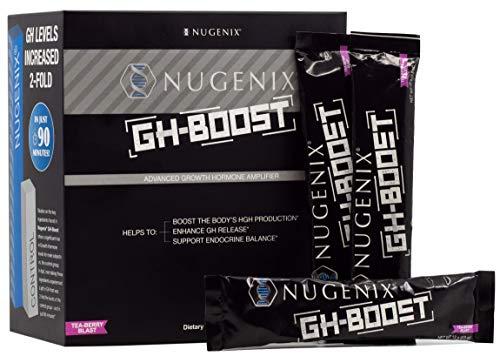 Nugenix GH-Boost - Advanced Secretagogue Accelerator, HGH Booster and Sleep Supplement for Men, GABA, Glutamine, Lysine, Arginine, Ornithine, Tea-Berry Blast - 30 Pack