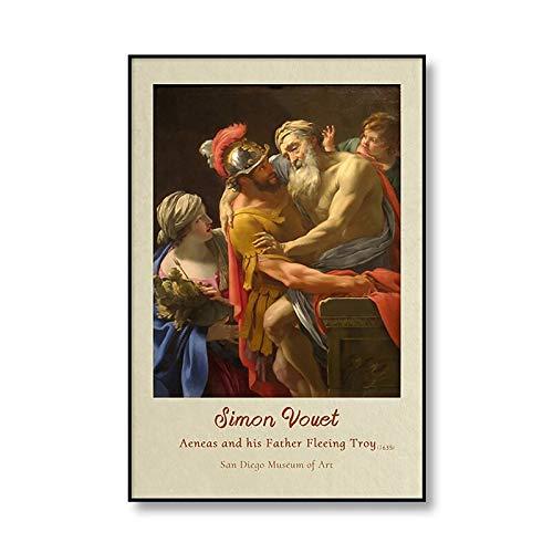Pintura al agua de Simon de fama mundial, lienzo artístico impreso, póster, imagen de pared, familia, sin marco, pintura decorativa en lienzo A3 60x80cm