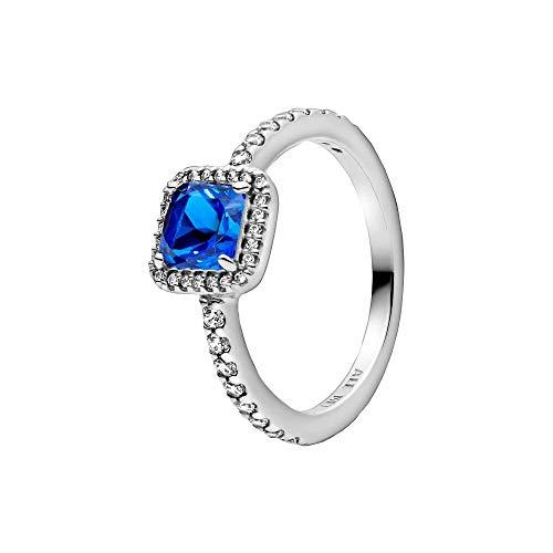 Pandora Blauer Quadratischer Funkelnder Strahlenkranz Charm Silber Größe 54
