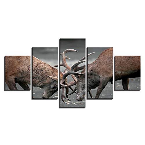 lglays Póster ures Decor Home Room 5 piezas Dos Elk Deer In The Fighting Painting HD Print Art Wall Art Modern Modular Canvas Framework-20x35cmx2,20x45cmx2,20x55cmx1
