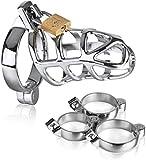 Happy lock Cǒck Underwear Sex+y for Men Briefs Chástí-ty Dëvîce Cǎge Sissy Panties Men's lace Thong Bikini Briefs (3 Ring) Silver