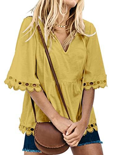 ASALWAYS Damesblouse halve bel ?rmel T-shirts V-hals zomer tuniek bovenstuk bijl?effen overhemden