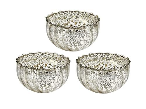 itsisa Glas Schwimmschale Silber 3er Set - Schwimmkerzen, Schwimmlicht, Tischdeko, Teelichthalter