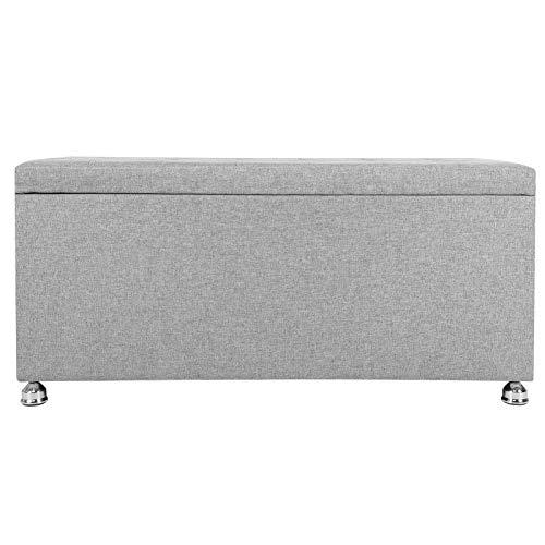 Emoshayoga Reposapiés Moderno 100x45x47cm Tela + Espuma + taburetes de Almacenamiento de Acero duraderos para la Entrada de la Sala de Estar del hogar