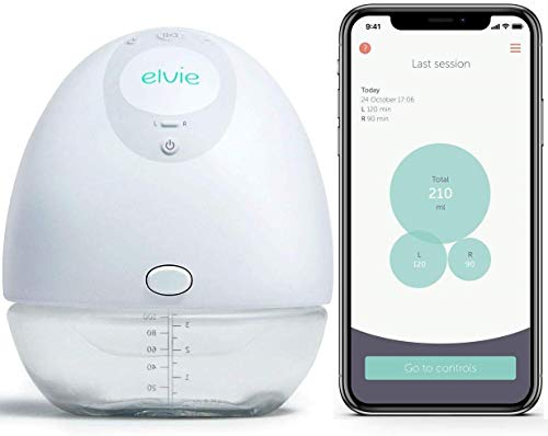 Elvie Single Electric Wearable Smart Breast Pump - Silent Hands-Free Portable Breast Pump That Can Be Worn in-Bra with App 2-Modes & Variable Suction