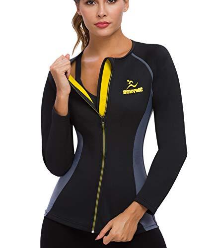 SEXYWG Women Sauna Shirt Neoprene Sauna Jacket Weight Loss Top Suit Workout Body Shaper Long Sleeve Black