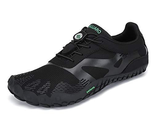 SAGUARO Barfuß Laufschuhe Herren Minimalistische Barfußschuhe Atmungsaktive Traillaufschuhe Dunkles Schwarz 39 EU