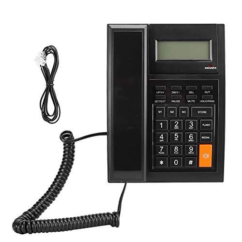 Agatige M64 Teléfono de Oficina de Negocios Negro Teléfono Fijo Portátil Pantalla LCD de luz Azul Teléfono Fijo de una tecla