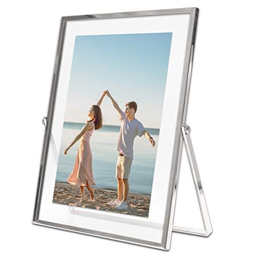 MIMOSA MOMENTTS Marco de fotos flotante de metal plateado (4 x 6)