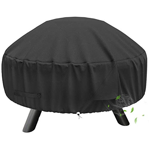 SHINESTAR Fire Pit Cover Round, Fits 28/30/32 Inch Firepit or Fire Bowl, Fits for Landmann, Hampton Bay, Bali Outdoors, KINGSO, Waterproof & Windproof, 32 Dia x 13.5 H