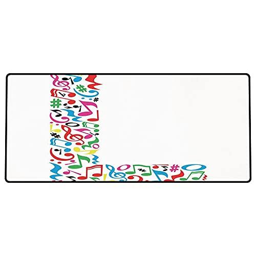 Tappetino per mouse da gioco Lettera L, segno L maiuscola con ispirazione musicale Design Tavolozza di colori vivaci Stampa ABC D Superficie liscia, base in gomma antiscivolo600x300x3mm