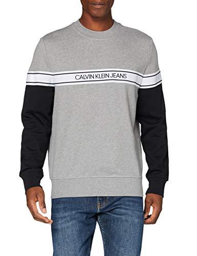 Calvin Klein Logo Tape Crew Neck Maglione, Grey, L Uomo