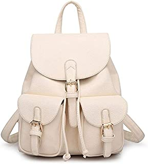 Stylish litchi leather women's backpack lady shoulder bag backpack for women QM61 Off white