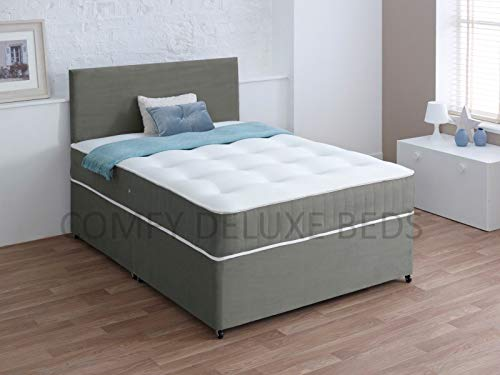 Luxury Suede Divan 3FT Single Bed Set with Mattress - HEADBOARD and Available Storage Drawers (3FT 0 Drawer, Gray Suede)