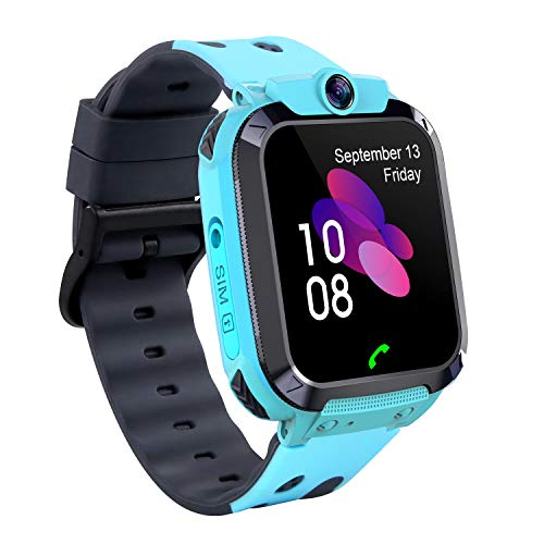 Smartwatch Kinder Tracker Kids Waterproof Kinderuhr Telefon mit SOS Voice Chat Uhr für Kinder Blue