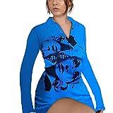 Moda Gotico Y2K Camicia Vestito Donne Sexy Ritratto Stampa Grafica Manica Lunga Pulsante T-shirt Aderente Vestito Slim Fit Blu scuro M
