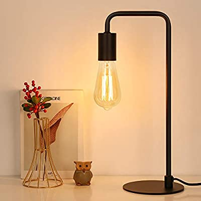 Industrial Table Lamp, Edison Desk Lamp, Small Lamps for Bedroom, Office, Dorm, Metel Bedside Nightstand lamp, Black(Bulb No Included)