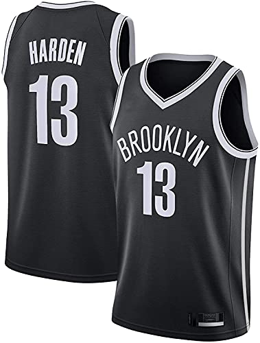 WEIZI Jerseys de Baloncesto para Hombre, NBA Brooklyn Nets # 13 James Harden Resistente al Desgaste Transpirable Malla Bordada Baloncesto Swingman Jerseys,Negro,M