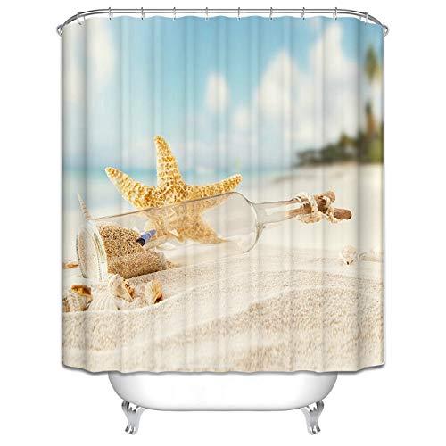 Beydodo Lustiger 3D Duschvorhang Antischimmel Seestern Flaschenpost am Strand Bad Vorhang für Badezimmer 150x180 cm