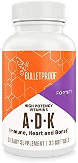 Bulletproof Vitamins A-D-K, High Potency for Heart, Bone and Immune Support with 5000 IU Vitamin D3, Gluten-Free, 30 Softgels