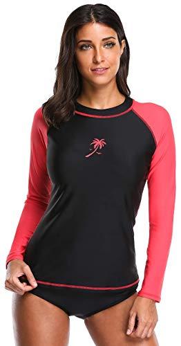 ATTRACO Swim Tops Women Long Sleeve Swim Shirt Sun Protection Rash Guard Black Red M