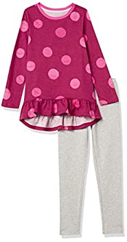 Amazon Essentials Girls  Long-Sleeve Tunic T-Shirts Leggings Outfit Sets Polka Dots Set Large
