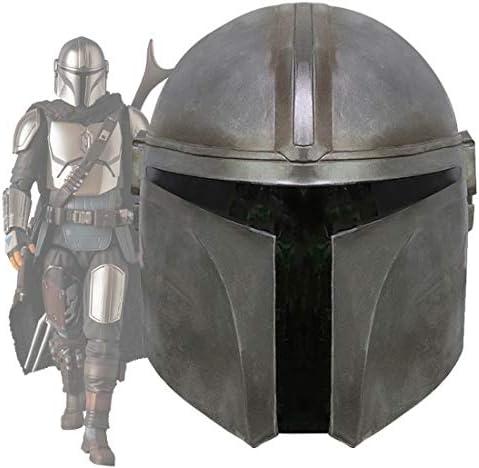 SW Mandalorian Boba Fett Helmet Replica Metal Latex Full Head Mask Cosplay Adults Black product image