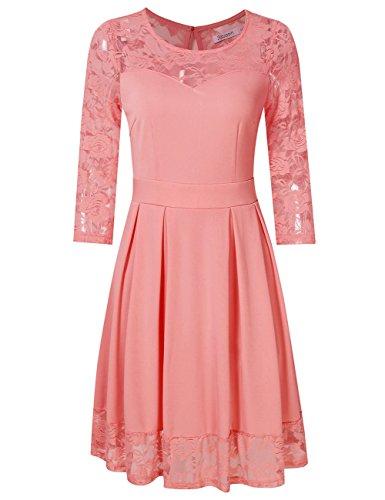 KOJOOIN Damen Elegant Kleider Spitzenkleid Langarm Cocktailkleid Knielang Rockabilly Kleid Pink Rosa M