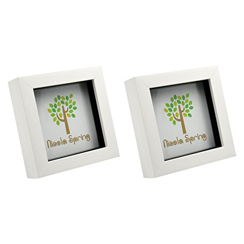 Nicola Spring 4x4 (10 x 10cm) Square Box Glass Photo Picture Frame, Standing & Hanging - White - Pack of 2