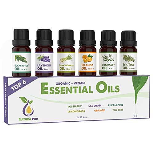 Natura Pur Ätherische Öle Set (Top 6) - 100% Bio naturrein - Duftöl Set für Diffuser und Aromatherapie (Rosmarin, Lavendel, Eukalyptus, Zitronengras, Orange, Teebaum)