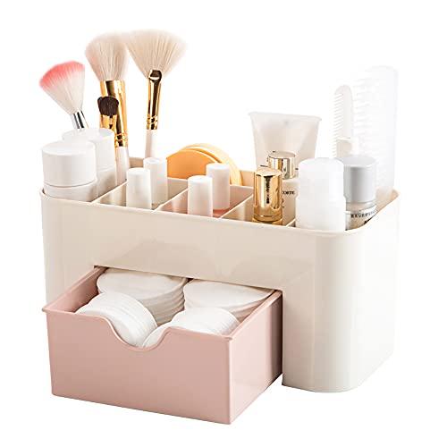 Desktop Makeup Organizer Drawers,BAFFECT Coffre de rangement de produits de beauté Bureau de bureau Organiseur Papeterie de bureau Boîte de rangement Organisateur de maquillage (Pink)