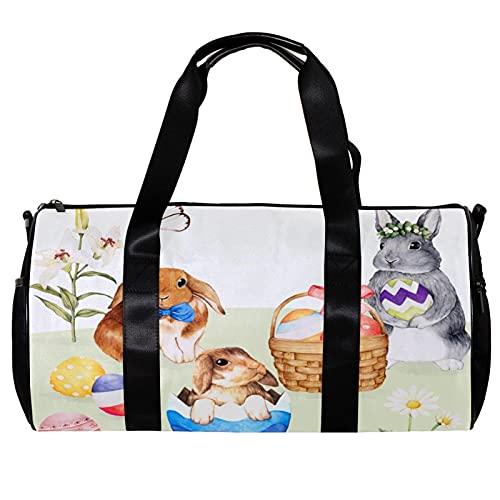 Borsone per le donne e gli uomini Carino Acquerello Conigli Pasqua Coniglietto Uova Sport Palestra Tote Bag Weekend Pernottamento Borsa Da Viaggio All'aperto Bagagli