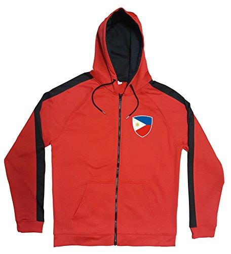 Philippinen Jacke Sweater Rot JA GO Philipinas Trikot Look Zip Nation Fussball Sport (XL)