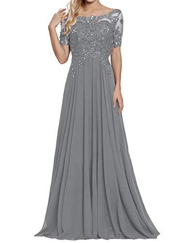 Damen Spitzen Abendkleider Chiffon Brautmutterkleider Lang Kurzarm Brautjungfernkleider Ballkleider A-Linie Stahlgrau 58