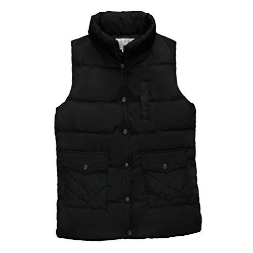 Yiiquan Chaleco acolchado cálido sin mangas para mujer, corte ajustado, talla grande, color liso Negro XXXXL