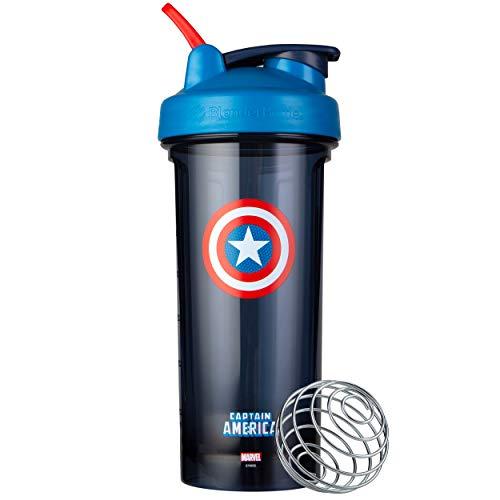 BlenderBottle Marvel Comics Pro28 Tritan Trinkflasche mit BlenderBall, optimal geeignet als Eiweiß Shaker, Protein Shaker, Wasserflasche, BPA frei, skaliert bis 600ml