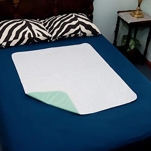 Inkontinenzblätter Waschbare Bettpolster - 86x92 cm Wasserdichter Matratzenschutz Urinbenetzungsmatte für Doppel-Einzelbett