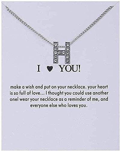 YOUZYHG co.,ltd Collar Collar Mujer Nombre Personalidad Alfabeto Letras Iniciales Tarjeta de Mensaje Collar Colgante Mujeres Collares Te Amo Joyería Regalos